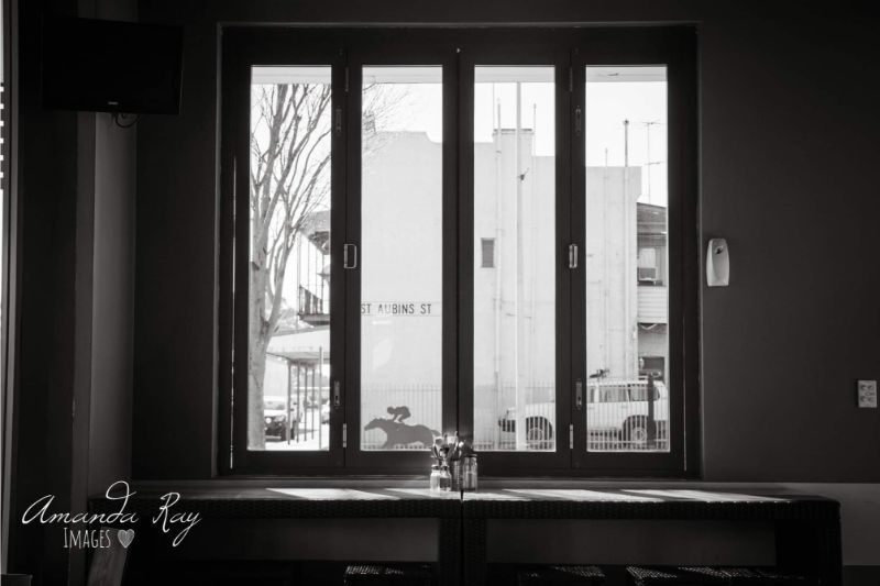 Cosy Cafe's Bar Seating Looking Outside Window Onto St Aubins St Scone